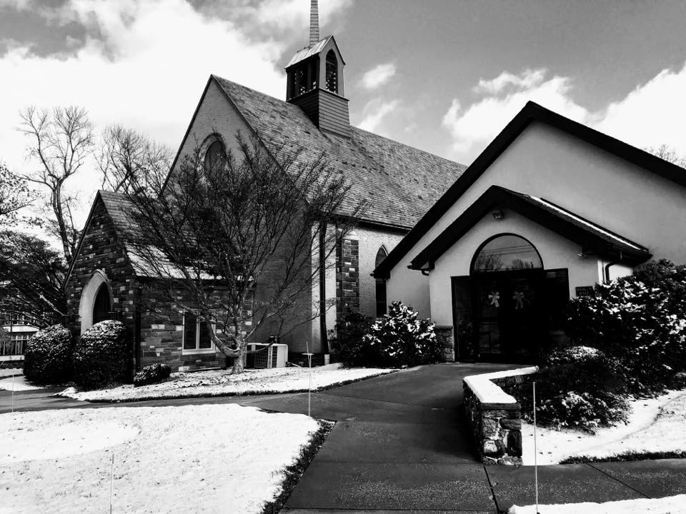 Church in Black and White and snow
